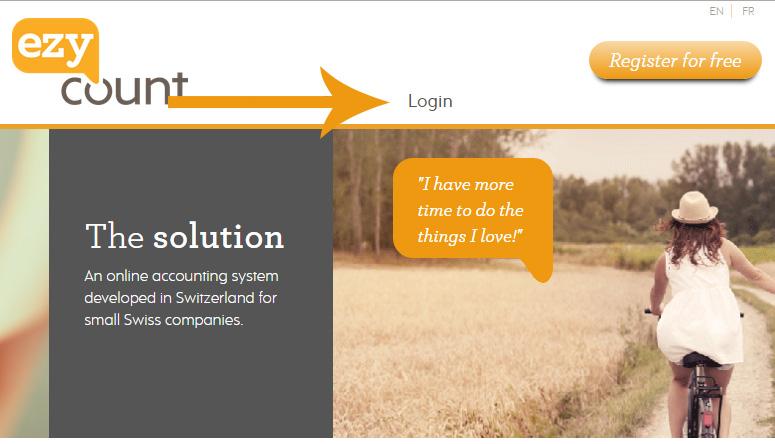 Login button on EZYcount homepage