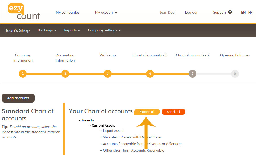Expand chart of accounts