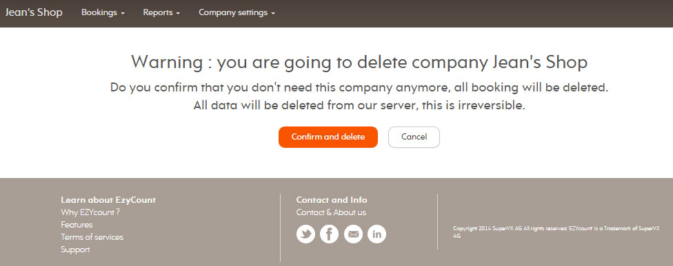Confirm company deletion
