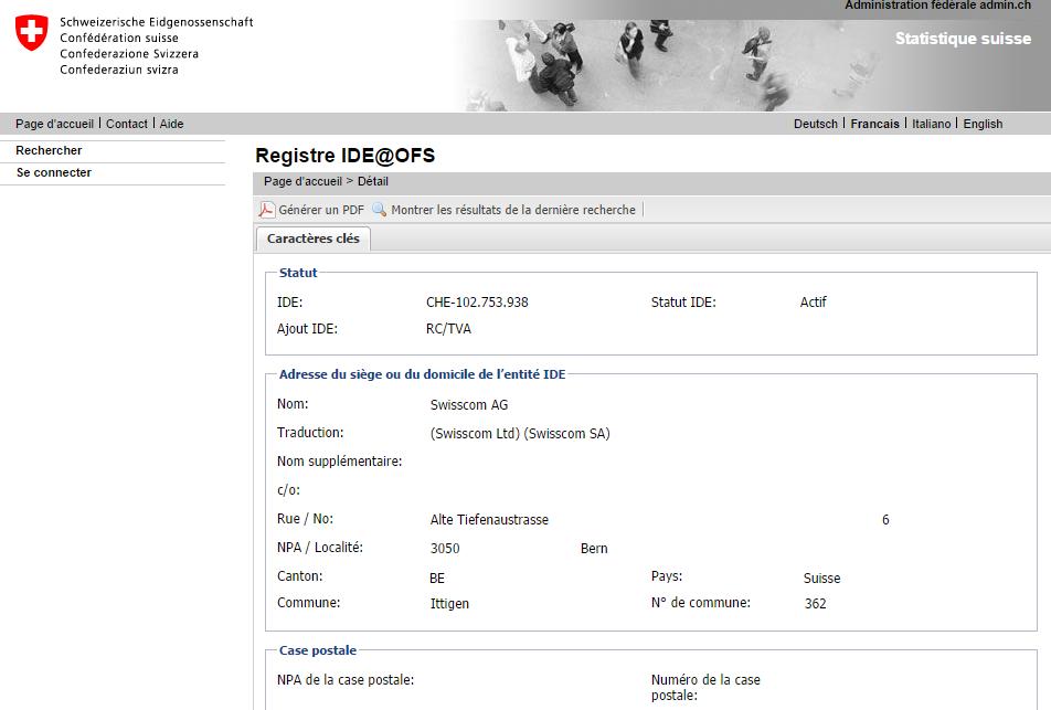 Exemple IDE de Swisscom