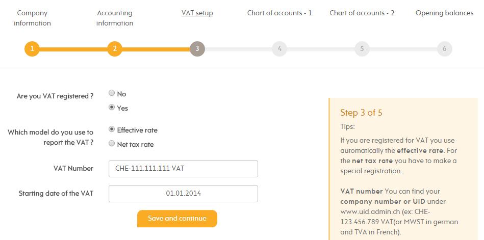 VAT setup