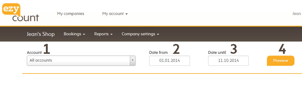 Account statement selection fields