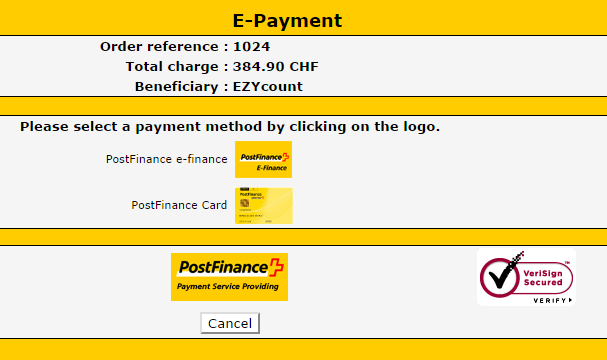 Postfinance payment method