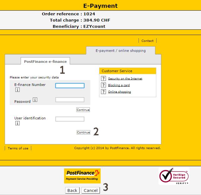 Postfinance payment detail