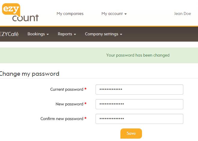 Successful password change