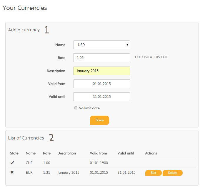 Currency page