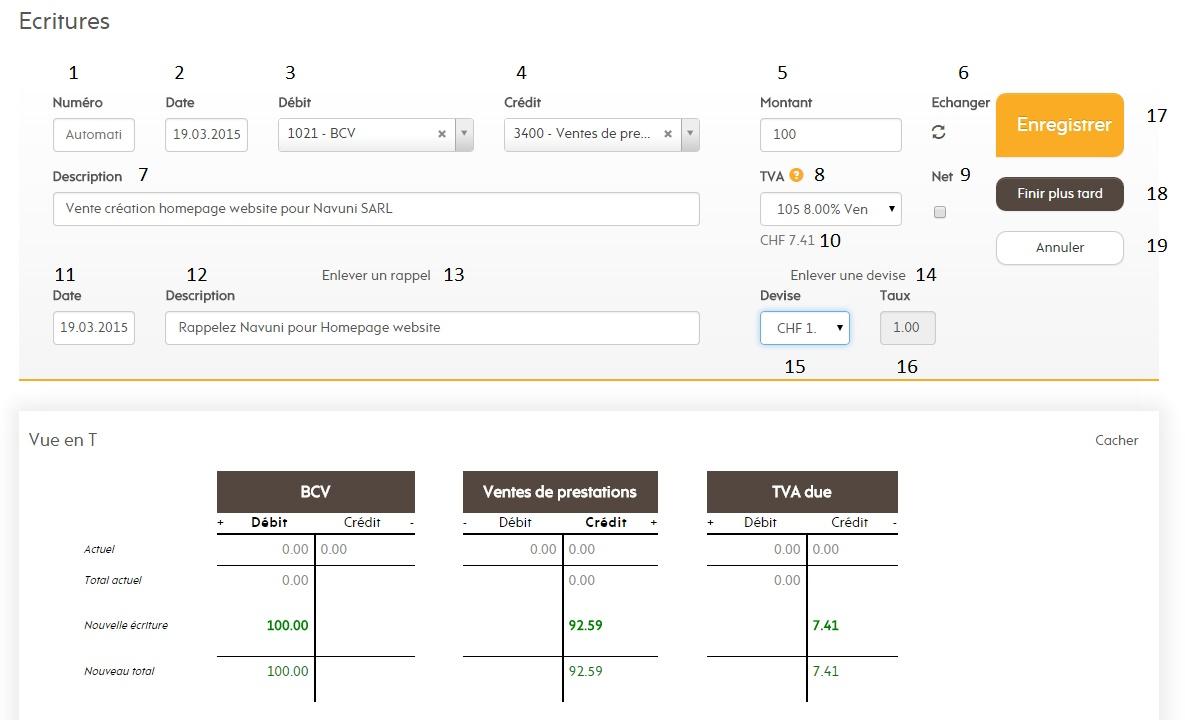 Passez une écriture comptable simple