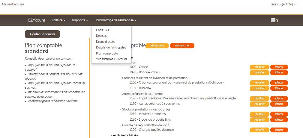 Cliquez sur Plan comptable dans la barre de menu