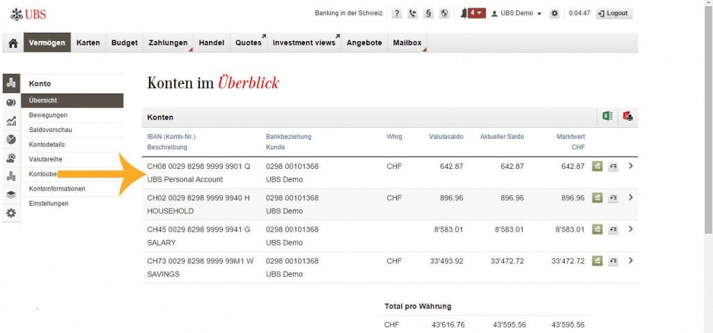 Ebanking menu UBS