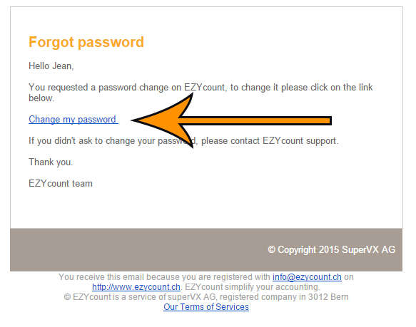 Email password change