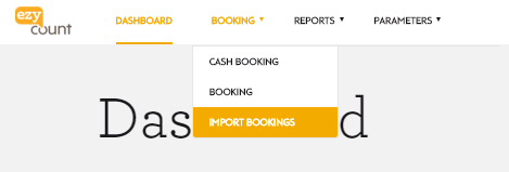Import booking menu