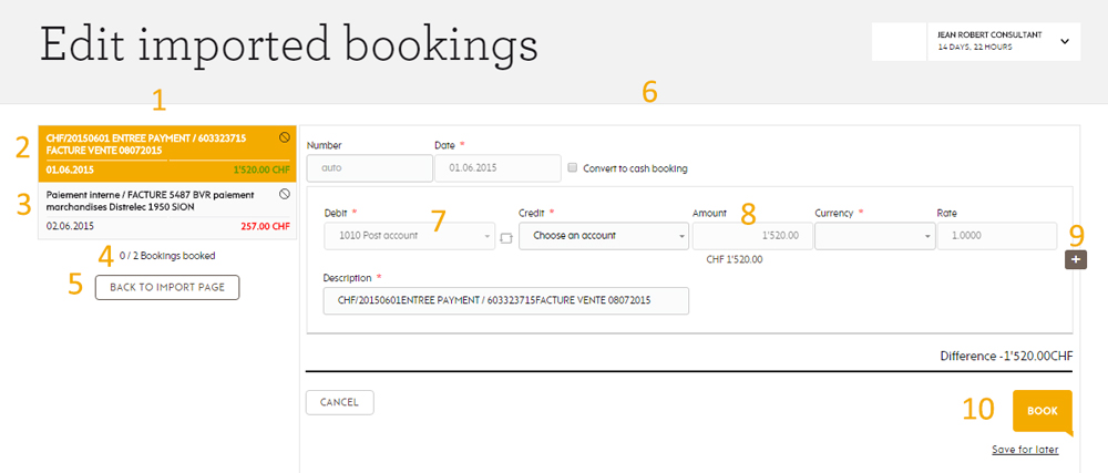 List imported bookings