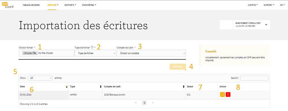 Page d'importation