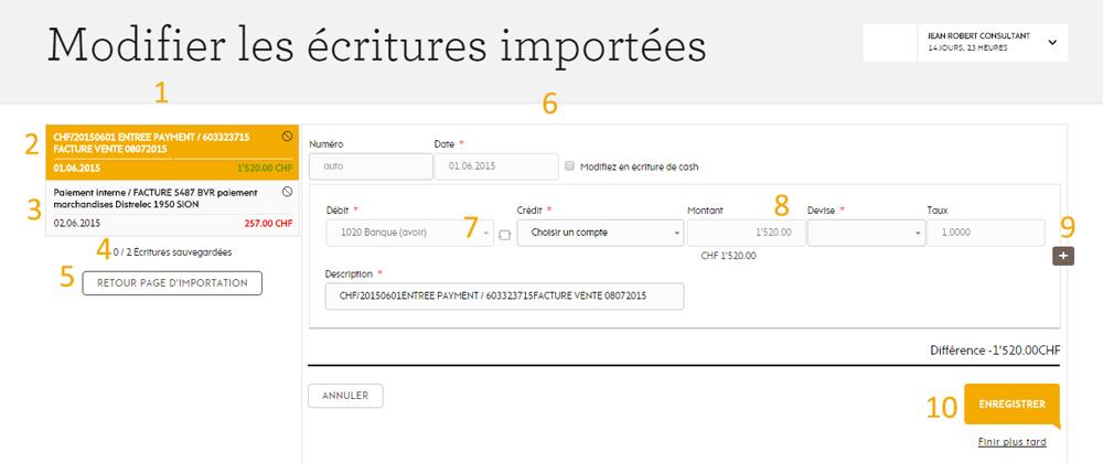 Écritures importées