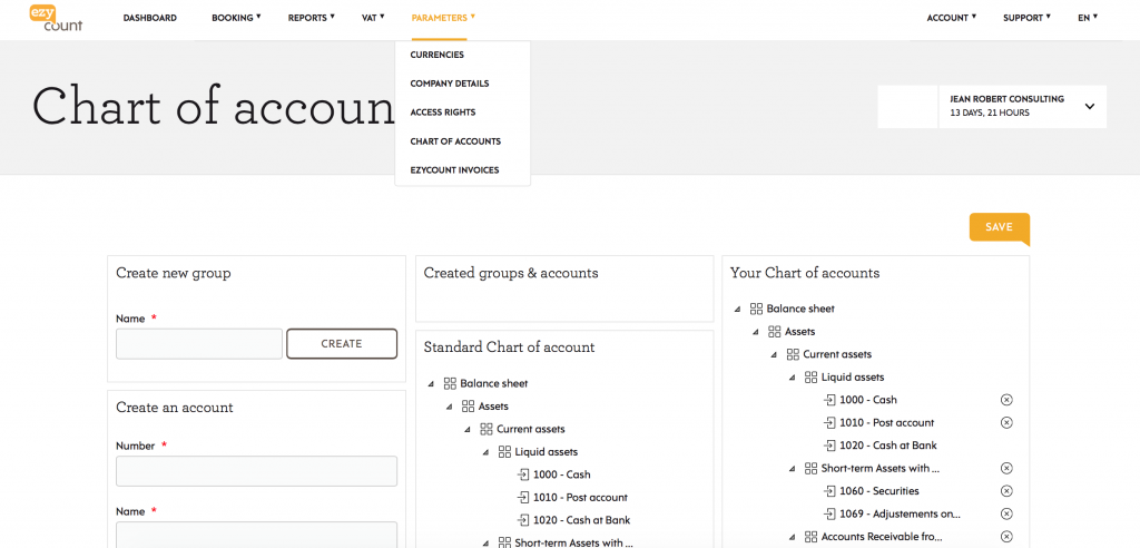 Chart of account