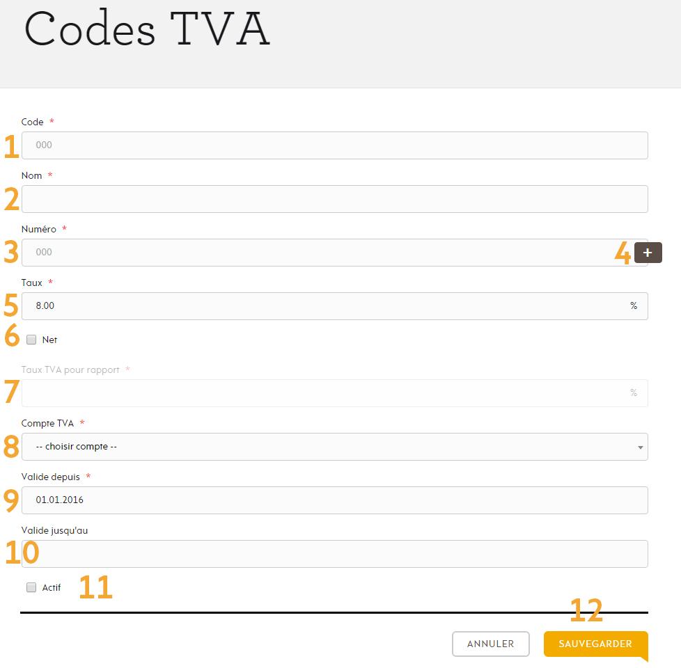Page créer code TVA