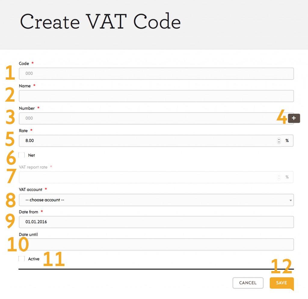 create VAT codes