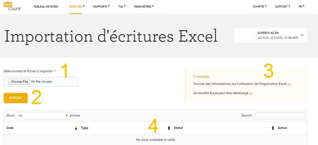 Importation Excel dans EZYcount