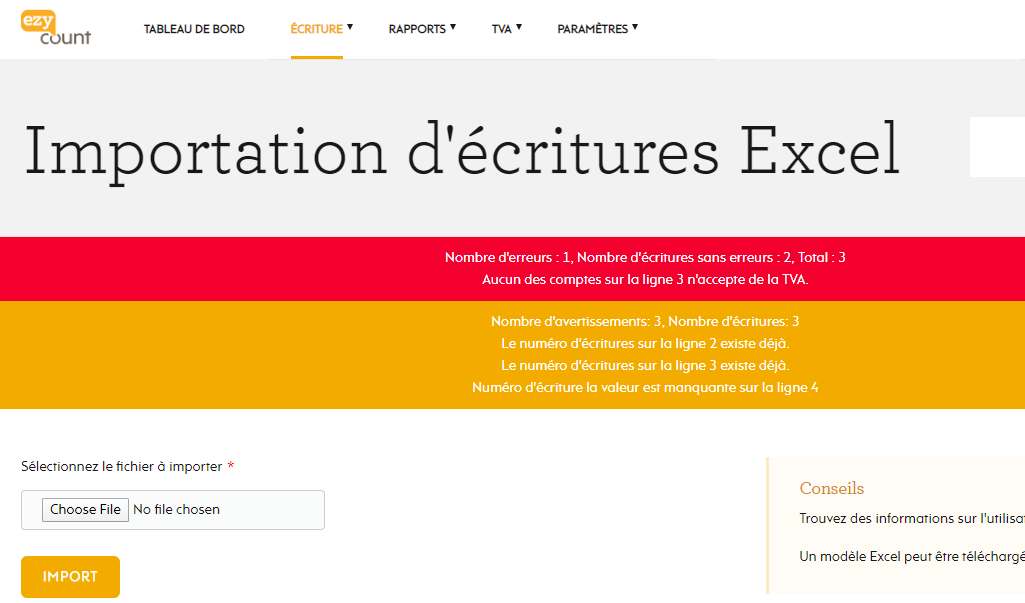 Erreurs et alertes dans l'importation Excel