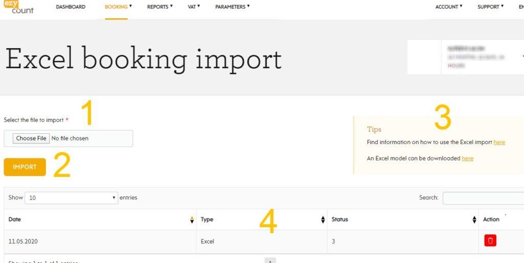Excel import in EZYcount