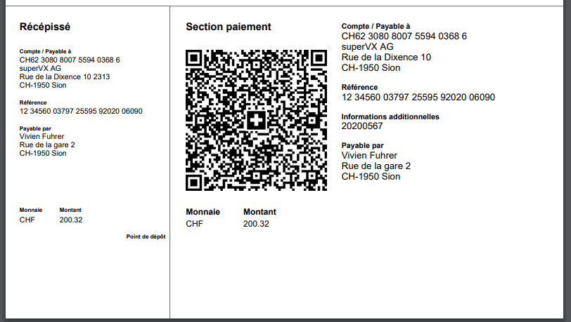 Example of QR invoice