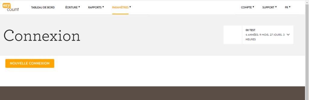 Page de connexion dans EZYcount