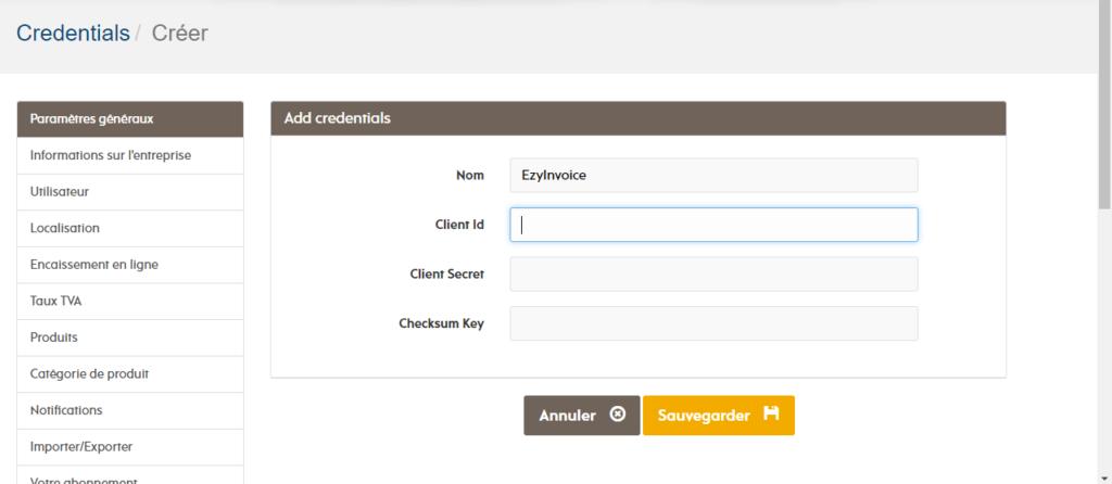 Page d'intégration dans EZYfacture