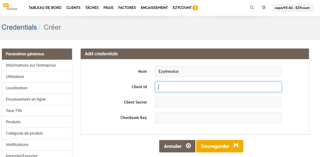 EZYinvoice screen to input EZYcount information
