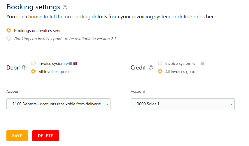 Accounting options for invoices