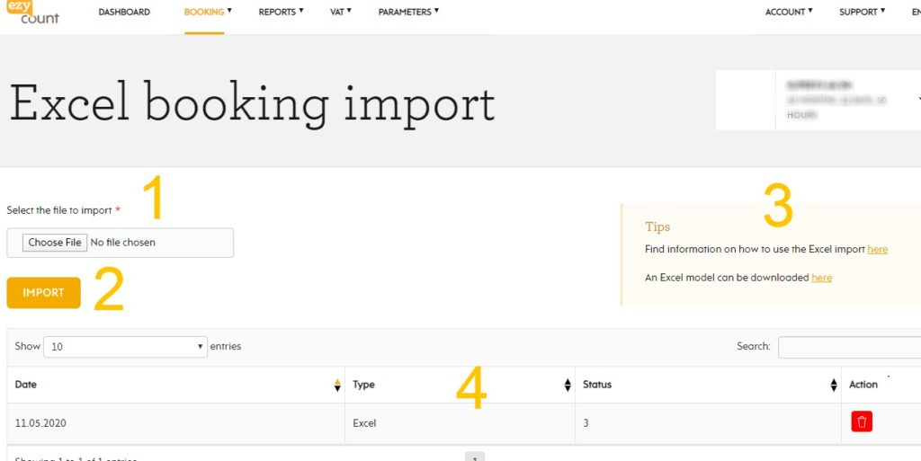 Excel import in EZYcount