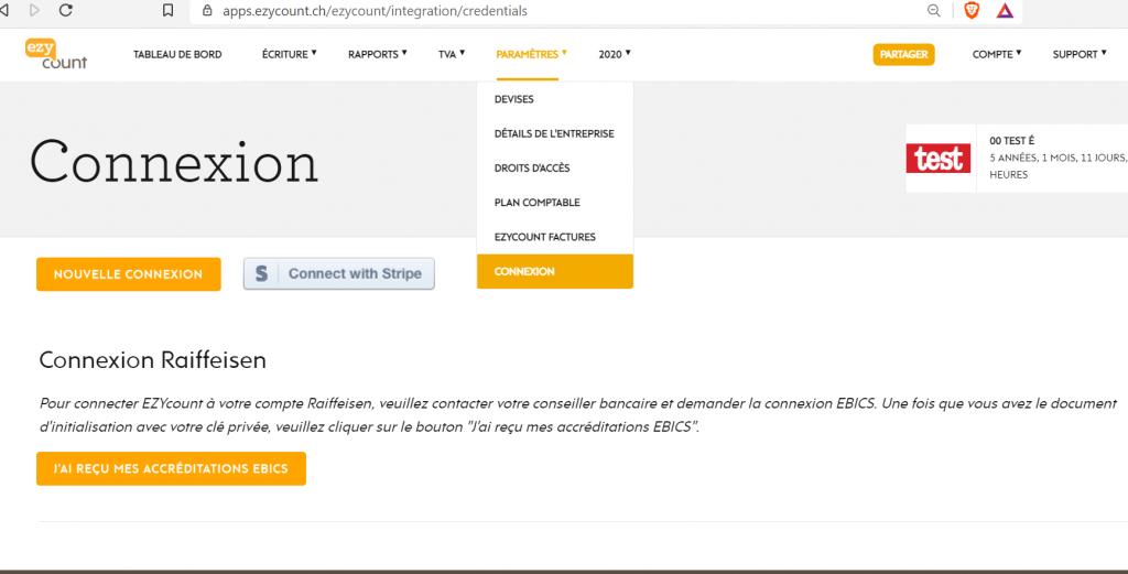 EBICS connexion Raiffeisen dans EZYcount